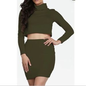 Olive Green 2 Piece Skirt and Crop Top Set